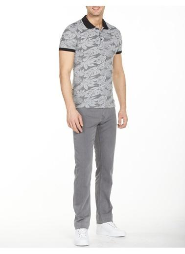 Bisse BTS20Y20306 Slim Fit Desenli Polo Yaka T-Shirt Siyah